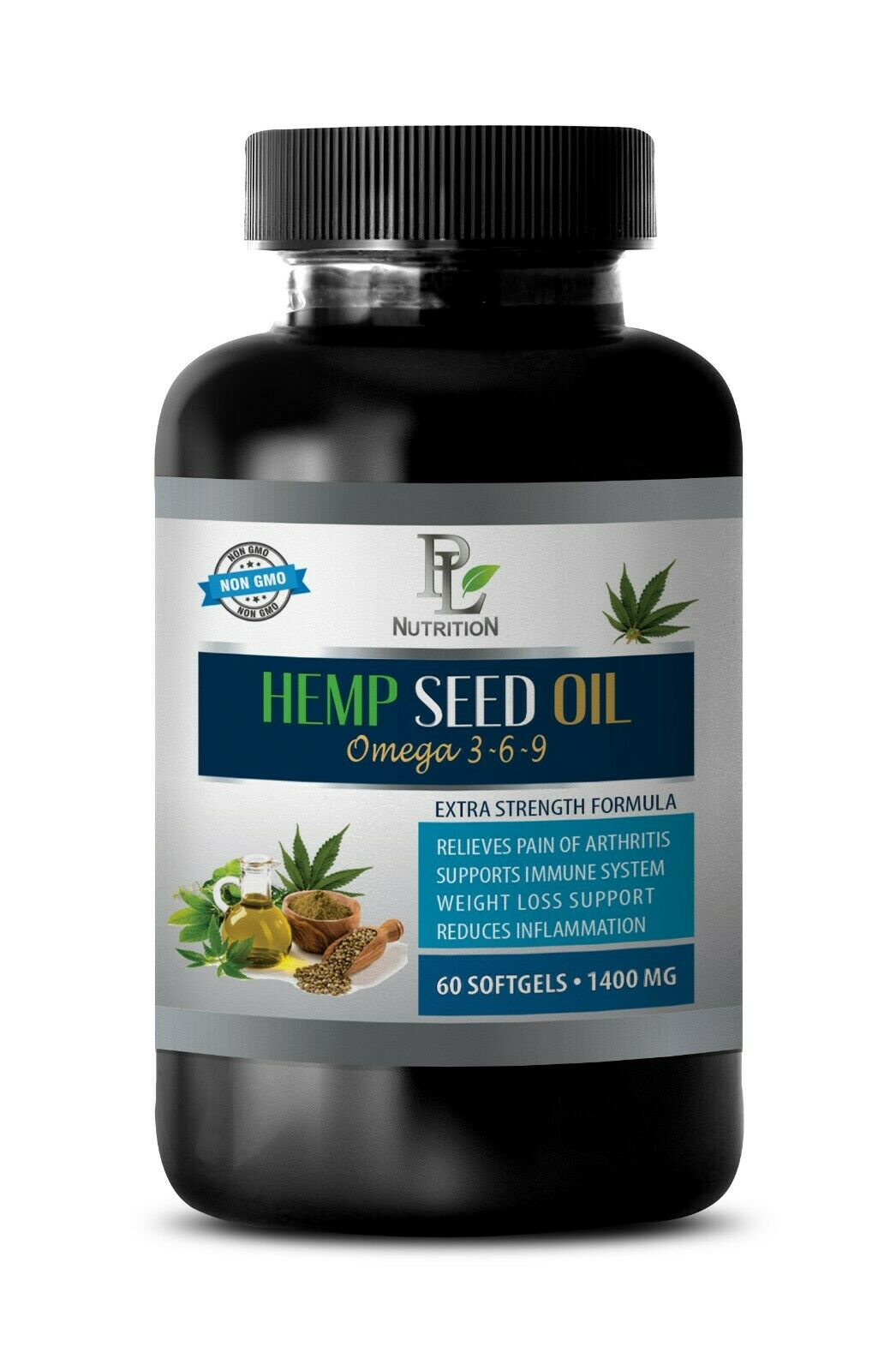 anti inflammatory properties, HEMP SEED OIL ORGANIC 1400mg, omega 3-6-9 acids 1B