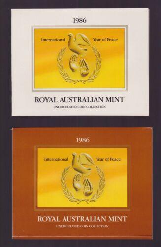 1986 AUSTRALIA - OFFICIAL BU MINT SET (7) - INT YR. of PEACE - ORIG. RAM BOOKLET