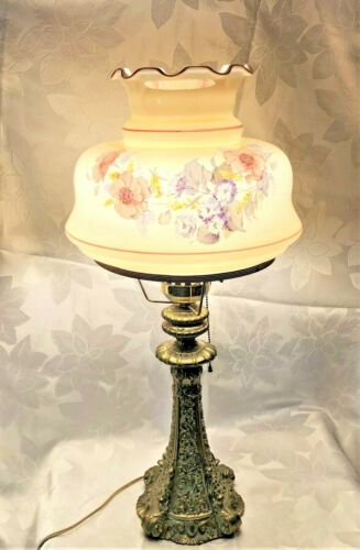 Antique ornate table parlor piano lamp with hand painted shade