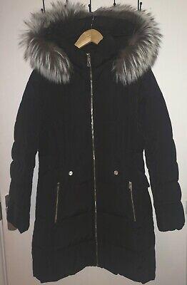 Ivanka Trump Real Fur Trim Hooded Down Puffer Coat Black Size Medium