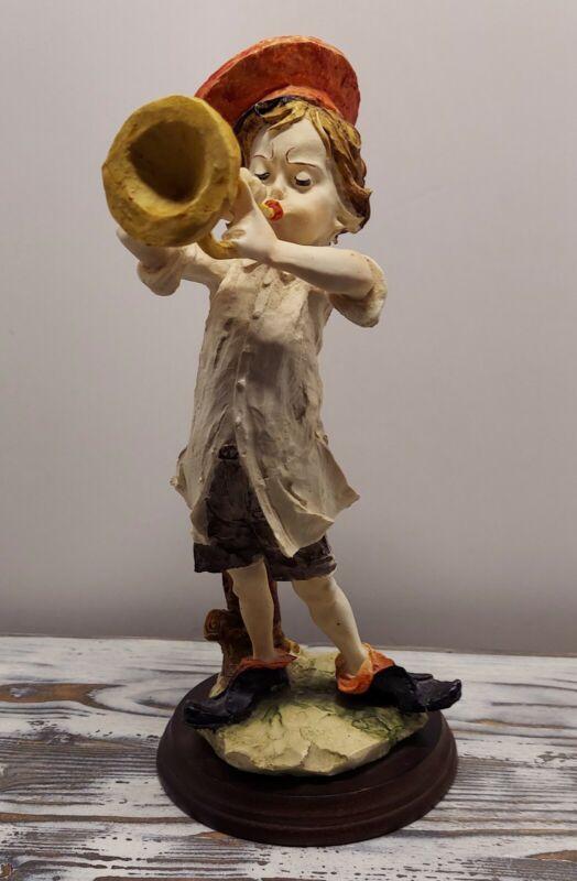 GIUSEPPE ARMANI BOY WITH TRUMPET CAPODIMONTE FIGURINE PIECE