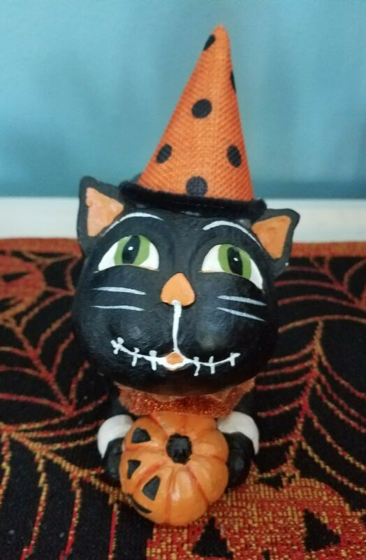 A Whimsical Bethany Lowe Inspired Halloween Black Cat with Jack O Lantern