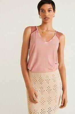 Mango zara group womens  lace detail blouse top pink v neck  Sz L NWT