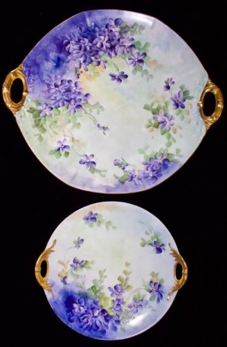 Antique Pair LIMOGES HAVILAND & JPL FRANCE Hand Painted Violets 2-Handle Plates