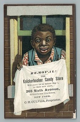 Knickerbocker Candy Store—Victorian Trade Card NYC Black Boy—African-Americana  - Candy Store Nyc