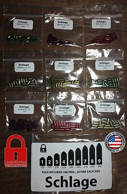 Schlage Re-key Kit. Contains 20 Pins Each Size. 180 Bottom Pins Total