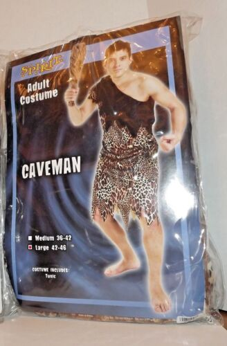 Spirit Adult Caveman Halloween Costume Large 42-46 Used Plus Accessories (Q)