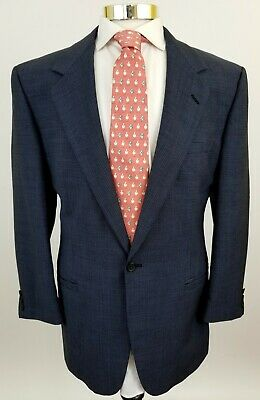 Gianni Versace V2 1 button wool Blazer sport coat blue black textured 50R 40R