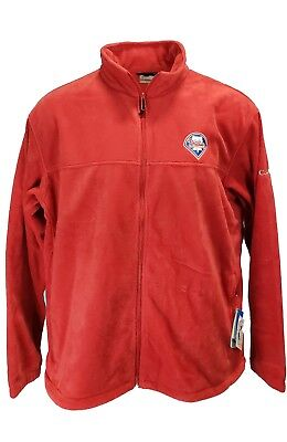 - MLB Philadelphia Phillies Columbia Flanker Full Zip Red Fleece Jacket Mens, nwt