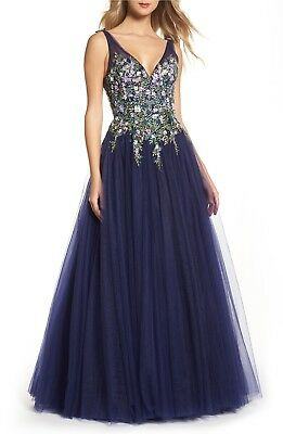 MAC DUGGAL 50442H Indigo Navy Blue Floral Embroidered Tulle V-Neck Ball-Gown 18