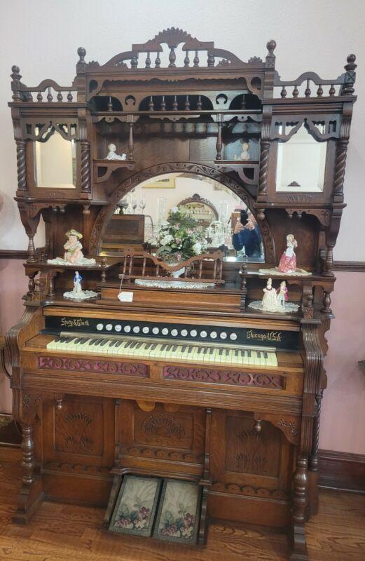 Magnificent Victorian Story & Clark Pump Organ Oak  Stick & Ball Cabinet 87