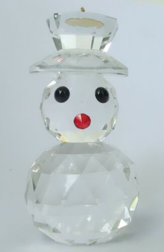 CRYSTAL SNOWMAN CHRISTMAS HOLIDAY FIGURINE HANGING ORNAMENT