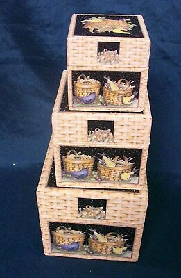 "Nesting Bob's Boxes Birds & Baskets Appx 4"" 3"" 2"""