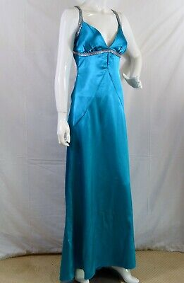 ASPEED Design USA Turquoise blue open shirred back Formal Gown Dress Sz M - Shirred Back Dress