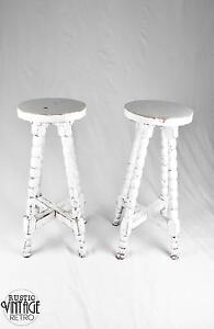 Pair of White Shabby Chic Style Stools Mangerton Wollongong Area Preview