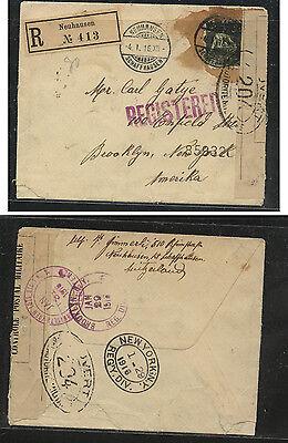 Switzerland  registered censor 1916 to US  WW1        MS0216
