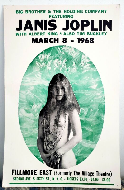 March 8 1968 Janis Joplin Big Brother & The Holding Co. Fillmore Concert Poster