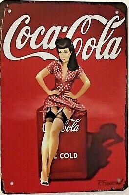 TIN SIGN 8x12 Coca Cola coke sexy girl stockings brunette vintage advertisement
