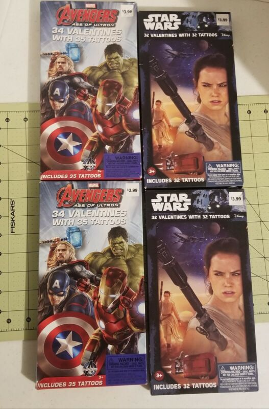 NEW Lot of (4) Star Wars/Avengers Valentine