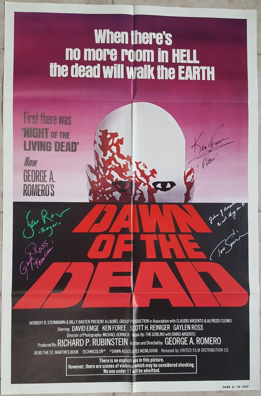 Original DAWN OF THE DEAD 1978 movie poster signed by 5 including Ken Forre
