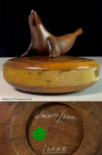 Old Vtg Inuit Eskimo Indian Carving Walnut Wood Box Seal Fur by Native Lorne