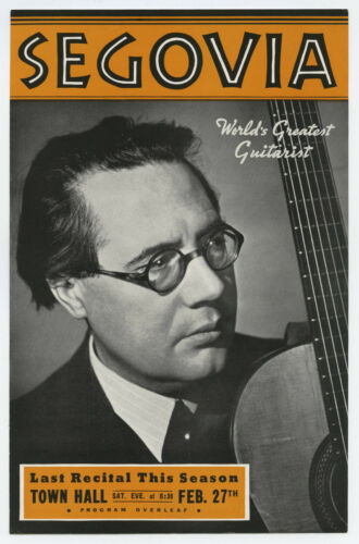ANDRES SEGOVIA Original 1943 Concert Handbill / Flyer