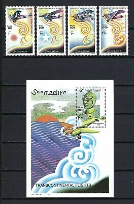 Somalia 2001 Mi#906-9, #910 Block 82  Transcontinental Flights  MNH Set $34.50