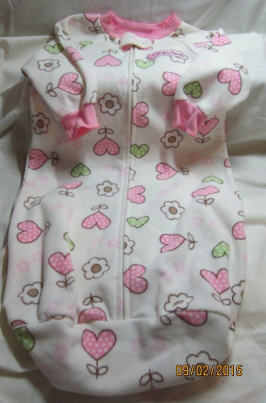 Child of Mine Girls Fleece One Piece Zipper Sack Sleepwear 0-9 Mths Heart Design