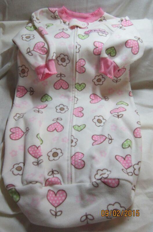 Child of Mine Girls Fleece One Piece Zipper Sack Sleepwear 0-9 Mths Heart Design