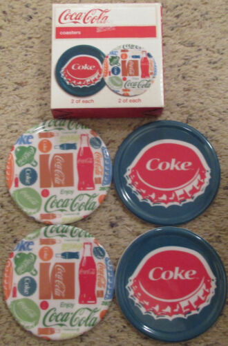 Set of 4 Coca Cola Coke Coasters Advertising Bottle Cap Design With Box
