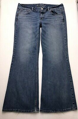 O263 American Eagle AE HIPSTER Low Rise Bootcut Flare Stretch Jeans 14 (35x31) - Hipster Low Rise Jeans