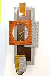 Modern Metal Art Pendulum Clock Silver Golden Brown Signed Original Jon Allen