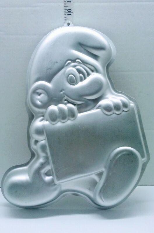 VTG Smurf Peyo WILTON 1983 Cake Pan #502-4033 Cartoon Character w/ Message Board