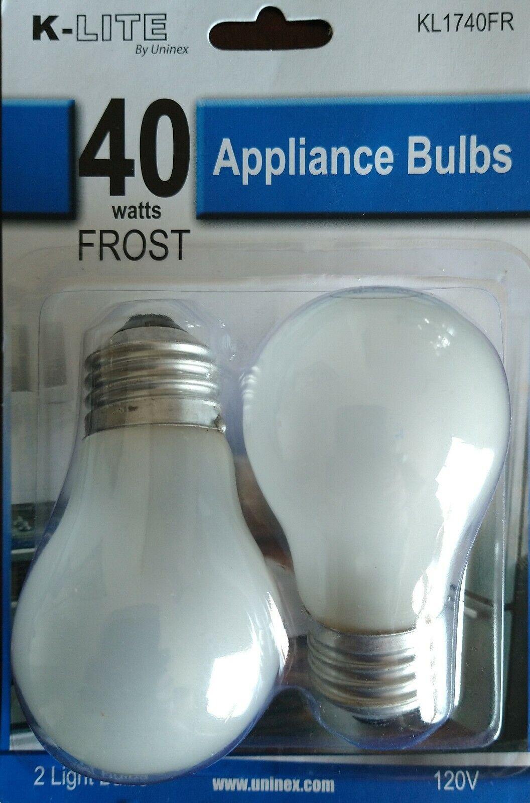 2 Pk 40 Watt Appliance Light Bulb Oven Refrigerator Microwav