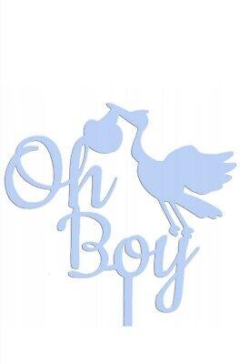 Cake Topper Oh Boy Stecker Torten Deko Geburtstag Blau Baby PartyStorch Boy