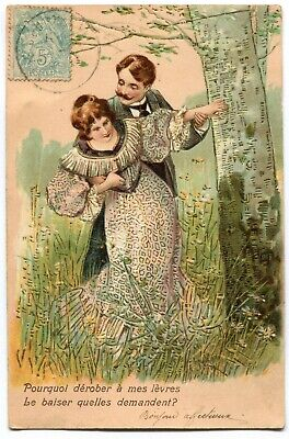 CPA - Carte Postale - Fantaisie - Couple - Homme et Femme - Le Baiser - 1905