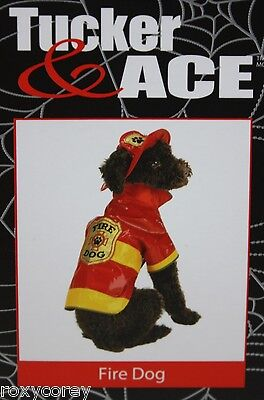 Red & Yellow Fire Dog Pet Costume with hat Size XSmall 8-1011-13 in NWT ()