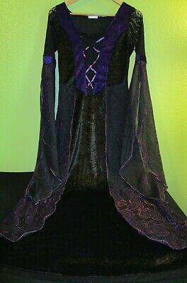 Lacy BLACK & PURPLE ROSES Halloween Dress Costume * Size SMALL * Spencer Gifts (Spencers Costumes)