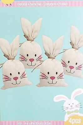 Adorable Easter Basket Treat Sacks Bags Easter Bunny Egg Hunt Candy Sack x 8