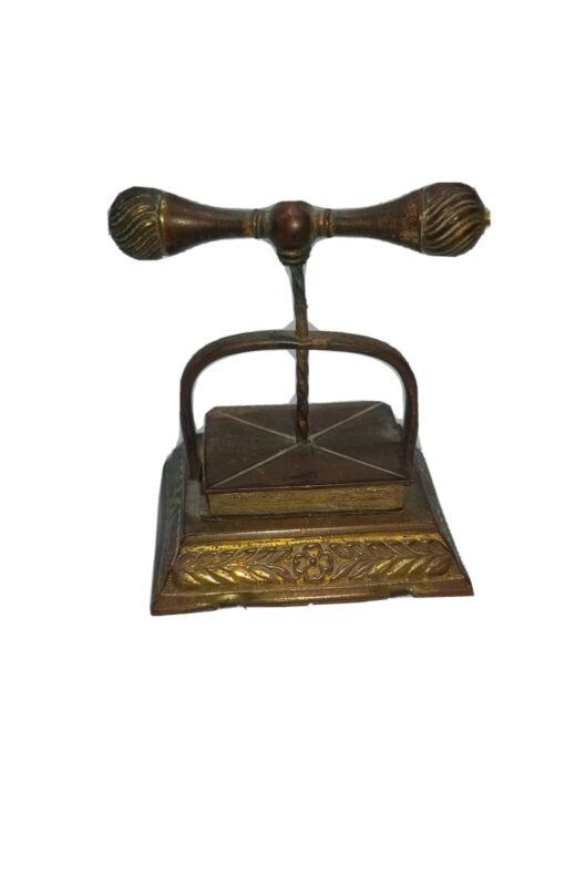 Antique Figural Brass Book Press Tape Measure Sewing
