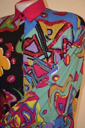 Amazing vintage 80/'s90/'s sequin glitter clown sweater