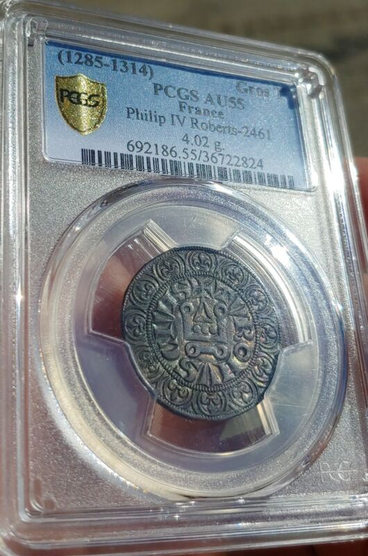PCGS Ancient Medieval France Philip IV 1285 AD Silver Gros Beautiful & Colorful
