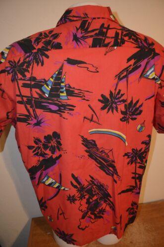 60s Aloha VTG Air Balloon Hot Shirt 70s 60s Red Hawaiian XL