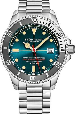 Stuhrling Depthmaster Heritage 883H Swiss Automatic Stainless Men's Diver Watch