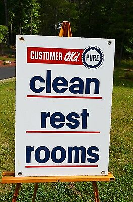 VINTAGE PURE MOTOR OIL 2 SIDED PORCELAIN RESTROOM SIGN NOS MINTY SUPER RARE