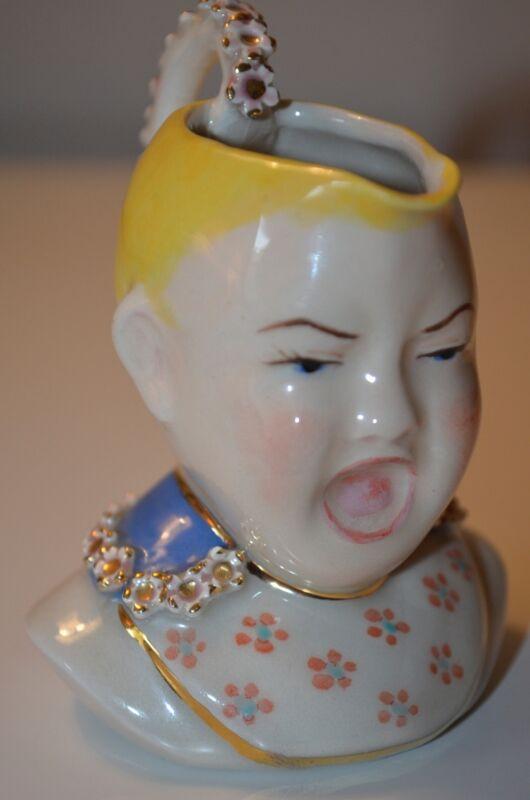 Crying Royal Baby Child Head Christmas Signed Porcelain Milk Creamer VTG 40s 50s