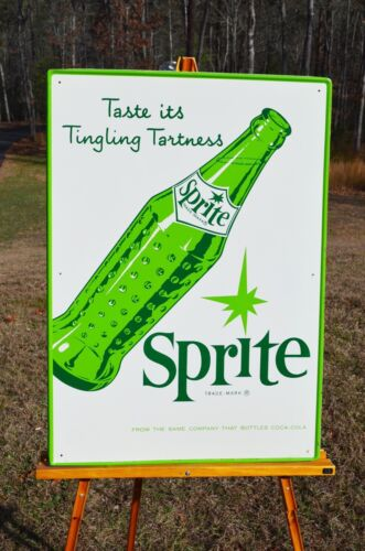 Details about VINTAGE 60s COCA COLA SPRITE BOTTLE SIGN BEAUTIFUL COND  DIFFICULT TO FIND SCARCE