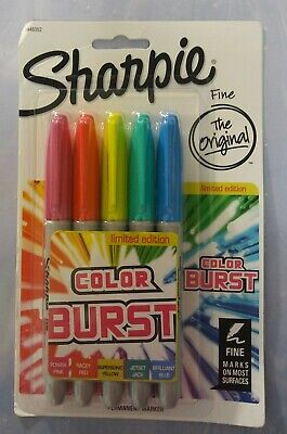 Sharpie Color Burst Permanent Markers With Fine Point 5 Piece Limited Edition