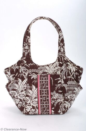 433c5b6569 Details about Vera bradley Quilted Brown   White Cotton Shoulder bag Lg  Pink Edging New 6478