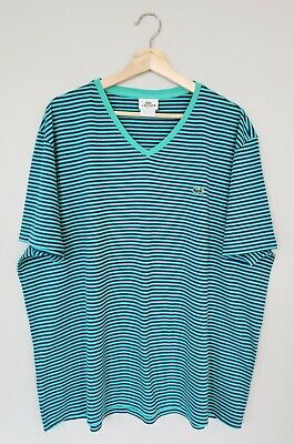 Lacoste Mens T Shirt 9 4XL Cotton Turquoise Navy Blue Striped Short Sleeve